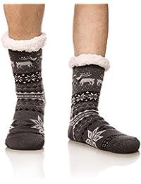 Men's Soft Fleece Lining Knit Christmas Stockings Christmas Deer Warm Winter Slipper Socks