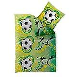 Fußball Bettwäsche 135x200 Baumwolle, Somme-Bettwäsche, CelinaTex 0003362, Fashion FUN Fussballbettwäsche grün