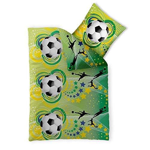 CelinaTex 2-TLG. Kinder-Bettwäsche 135 x 200 cm Baumwolle Renforcé 4-Jahreszeiten Bettbezug Fashion Fun 0003362 grün gelb schwarz Fußball