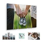 malango® Foto auf Leinwand JETZT SELBST GESTALTEN - handgefertigt auf 2 cm Keilrahmen 3-Teiler Reihe 100 x 60 cm mit eigenem Foto
