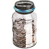 LemonBest Digital UK Coins Automatic Counting Money Box Jar LCD Display Transparent Large Capacity Gift for Kids