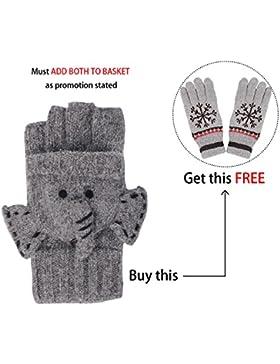 LHZY Frauen Winter Warm Fingerlose Strickhandschuhe mit Klappe Abdeckung geknöpft