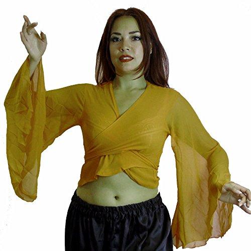 Bauchtanz Choli Winged Arm Top Tribal Gypsy Kostüm UK Größe 12-24 - bis XXXL (12/14-16, GELB) (Zigeuner Kostüme Uk)