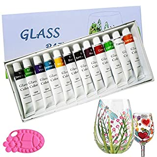 Magicdo 12 Colors Glass Paint With Palette, Non-toxic Paint for Glass , Glass Colour Use for Glass, Crystal, Window and Ceramics