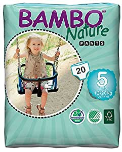 Bambo Nature Premium Baby Diapers - Pants Style, Large Plus Size, 20 Count - Super Absorbent Toilet Training Pull Ups for Kids upto 3 years