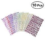 ULTNICE 10 Stücke Buchstaben Sticker Set Selbstklebende Alphabet Aufkleber (Zufällige farbe)