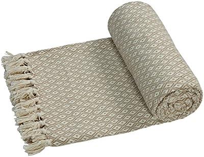 EHC-Algodón suave grande sofá Mantas Manta doble reversible cama 150x 200cm), diseño de silla, color beige