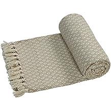 EHC–Algodón suave grande sofá Mantas Manta doble reversible cama 150x 200cm), diseño de silla, color beige