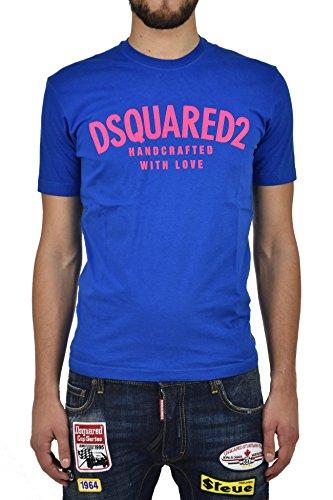 Dsquared2 Herren T-Shirt, einfarbig blau blau Large
