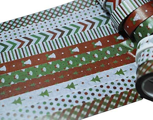 Leo's Choice 1,5cmX10m Klassisch Rote und grüne Weihnachten Washi Klebebänder 10 Rollen