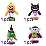 Amosfun 4pcs Barattolo di Caramelle di Halloween Zucca Fantasma Gatto Festa Caramelle può Biscotto Barattolo Arredamento