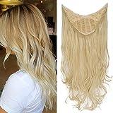 TESS Clip in Extensions wie Echthaar Haateile Blond 1 Tresse 5 Clips U-förmig Haarverlängrung Synthetische Haare Gewellt 24