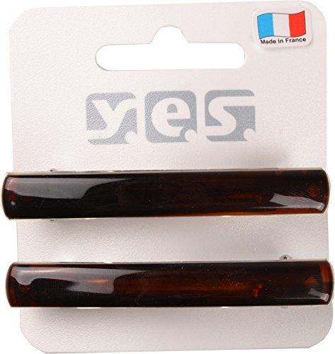 Solida Haarspange klein, Made in France, 2er Pack (2 x 2 Stück), braun