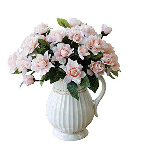 Htmeing 7Branchs Seide Gardenia Künstliche Blumen Hochzeit Deko für Home Dekoration, 2Blumensträuße rose