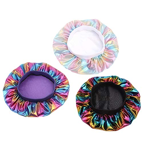 Lurrose 3 unids Elastic Nightcap Satin Sleeping Cap