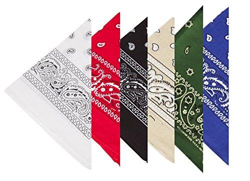 BOOLAVARD 100% algodón 1pcs, 6pcs o 12pcs paquete Bandanas con el color Original de patrón de Paisley de opción sombreros / pelo