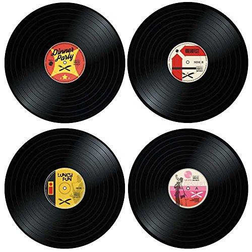 Mostromania set 4 tovagliette per la tavola, sottopiatti a forma di dischi in vinile, accessori decorativi casa, tema musica, idee regalo per lui e lei