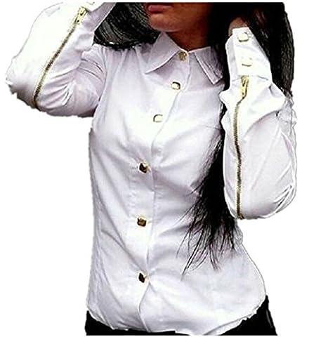 Chemisimer Femme, Koly Shirt Mode Manches Longues En Mousseline De Soie Femmes Lady Love Sweet Heart Blouse (38, Blanc)