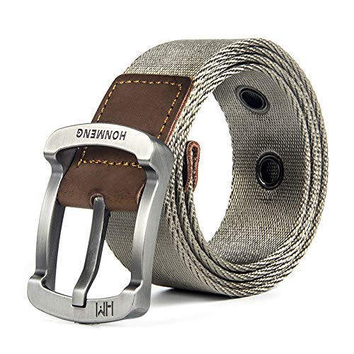 Yian-HYH @ Tactical Belt Nylon Canvas Men Casual Outdoor Military Fan Metal Buckle Wolf 105 cm