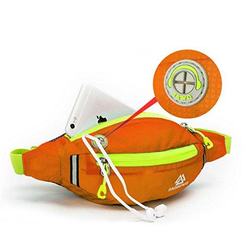 HongXing Taille Tasche Pack Slim wasserabweisend Reise Bauchtasche Running Gürtel für Reisen Radfahren Wandern Camping Orange