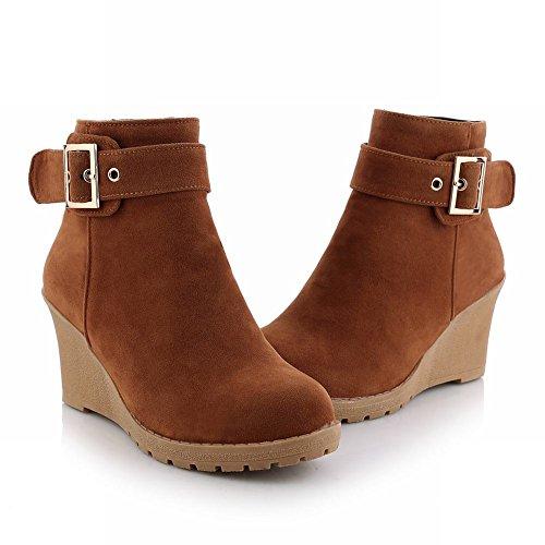 Mee Shoes Damen bequem Nubukleder runder toe Keilabsatz Knöchelstiefel Camel