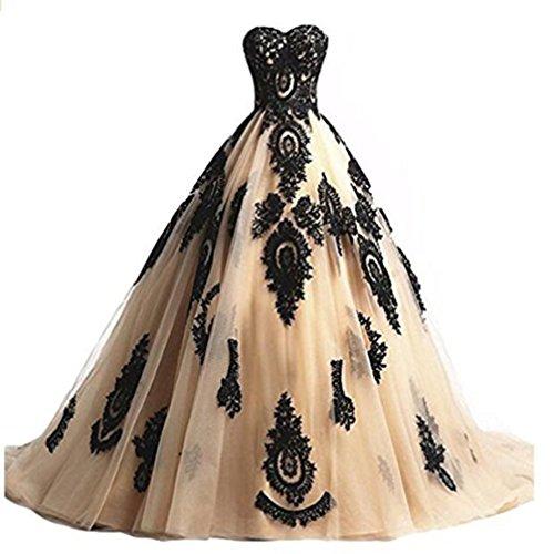 Cloverbridal Damen Ballkleider Prinzessin Lang Prom Kleider Quinceanera Kleid Ball Gown Champagner 42 -