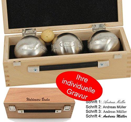 Ludomax OBUT K3 Tatou Design, Boule - Kugel Set, im Holzkoffer mit individueller Gravur