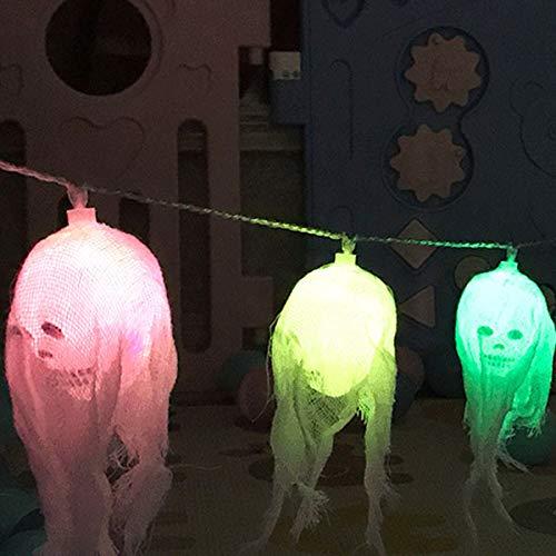 PerGrate LED-Deko-Lichter-Schnur-Farbiger gespenstischer Schädel Beleuchtet Halloween-Partei-Dekoration