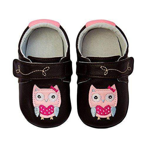 Rose & Chocolat Chaussures Bébé Polka Owl Marron