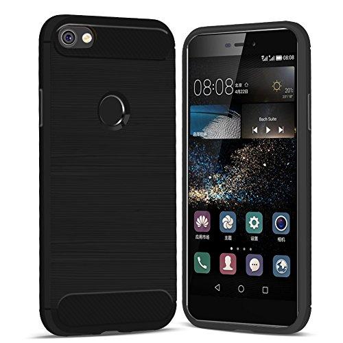 iPhone 8 Plus Hülle, iPhone 7 Plus Hülle, Eouine Shockproof Silikon hülle, Ultra Slim Rückseite Schutzhülle Kohlefaser Bumper Case Cover für Apple iPhone 7 Plus (2016) / iPhone 8 Plus (2017) 5.5-inch  Schwarz