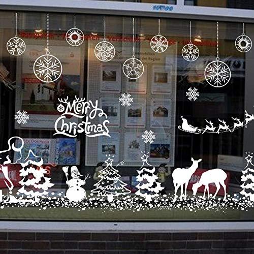 hema Wandaufkleber für Store Office Home Dekoration Weiß Weihnachten Festival Wandbild Art Diy Fenster Decals ()