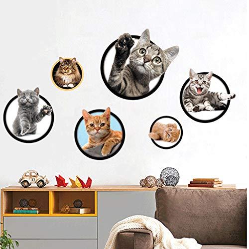 Wandaufkleber Süß 3D Katze/Hund Kinderzimmer Schlafzimmer Wandtattoo WC Deckel Wasserfest Aufkleber Badezimmer Wandsticker Kühlschrank DIY Sticker (3D Katze)