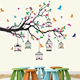 StickMe 'Nature Tree - Colorful - Birds - Cage - Wall Sticker ' -SM584 (PVC Vinyl - 130cm X 110 cm)