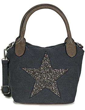 L&S Collection Tasche mit Stern   kleine Handtasche Canvas Stoff mit Schulterriemen (23 x 21,5 x 13 cm)