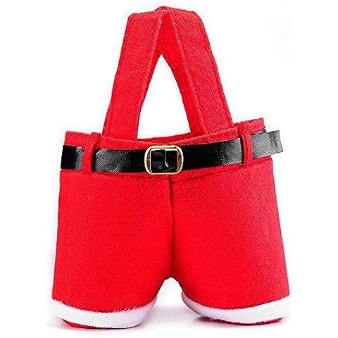 Homecube gran tamao soportes de bolsas de navidad del caramelo de vino de Santa Pantalones regalo y tratar Bolsas con cestas de regalo manija portable caramelo del papel de regalo para la boda, paquete de 7 (10