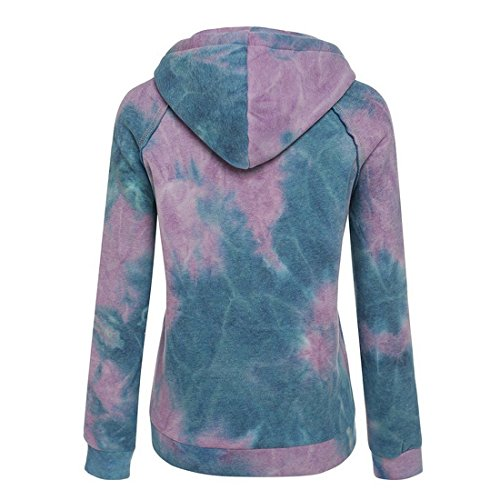 Dihope Femme Automne Survêtement Veste de Sport Sweat à Capuche Manches Longues Gradient de Couleur Hoodie Top Casual Violet