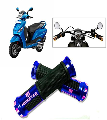 Capeshoppers Monster Designer Blue Bike Handle Grip For Honda Dio 110 Scooty