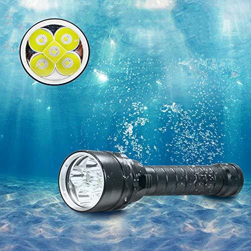 BESTSUN Unterwasser Tauchlampe, 5000 Lumen Tauchlampen Ultra Bright von 5X XML-L2 LED 100M Unterwassertauchen Taschenlampe Wasserdicht & Wiederaufladbar