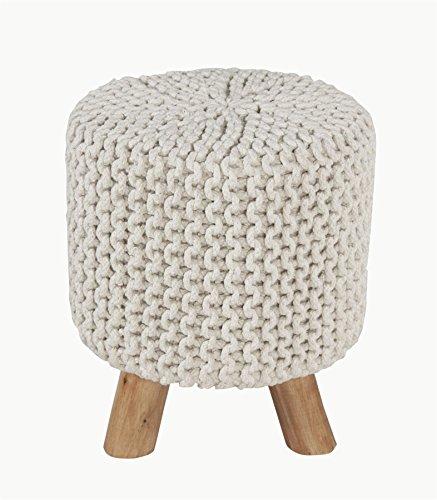Homescapes Moderner Strick Sitzhocker eierschalenweiß Fußhocker rund Schemel 32 x 32 x 42 cm mit gestricktem Baumwoll Bezug und Holzbeinen