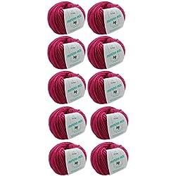 MyOma W0MY-04-A-3034-10 Magenta (Fb 3034) - Agujas de tejer (10 ovillos, grosor de aguja de 50 g, grosor de aguja de 7 mm, miola, lana de merino)