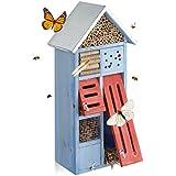 Relaxdays 10020725  Hôtel à insectes avec toit en métal balcon terrasse jardin abeille coccinelle papillon HxlxP: 48,5 x 24 x 14 cm refuge abri, bleu