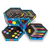 LIVIVO 52pc Childrens Kids 52 Piece Arts Craft Set Hexagon Box Crayons Coloured Felt Tip Pens Pencils Also Included Sharpener Eraser Paper Clip Paint Brus