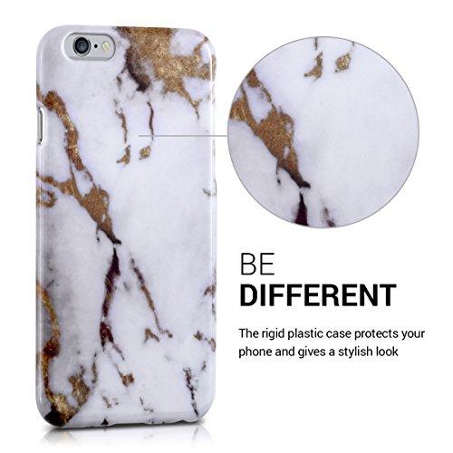 kwmobile Étui rigide Design marbre pour Apple iPhone 6 / 6S en noir blanc marbre blanc doré