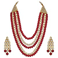 Aheli 4 Layered Indian Traditional Long Kundan Pearl Necklace Earrings Set (Red) Ethnic Bollywood Festive Jewelry for Women Girls