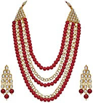 Aheli 4 Layered Indian Traditional Long Kundan Pearl Necklace Earrings Set (Red) Ethnic Bollywood Festive Jewe