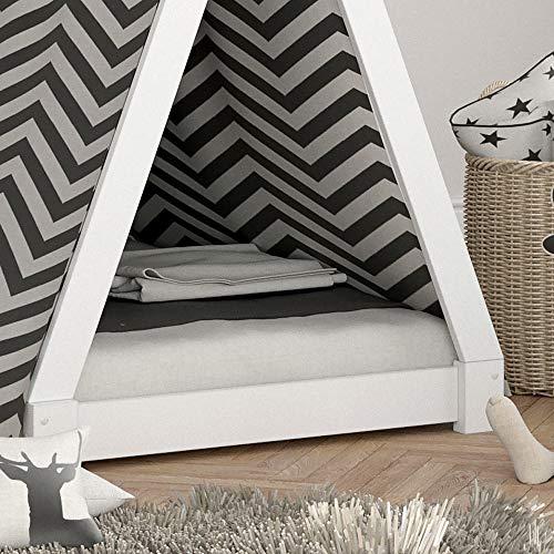VICCO Kinderbett TIPI Kinderhaus Indianer Zelt Bett Kinder Holz Haus Schlafen Spielbett Hausbett 90×200 (weiß) - 5