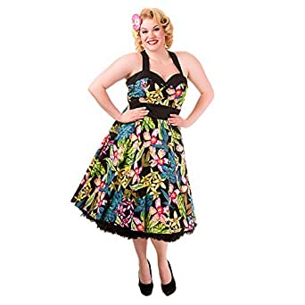 Banned Tropical Flowers Plus Size Kleid - 3XL