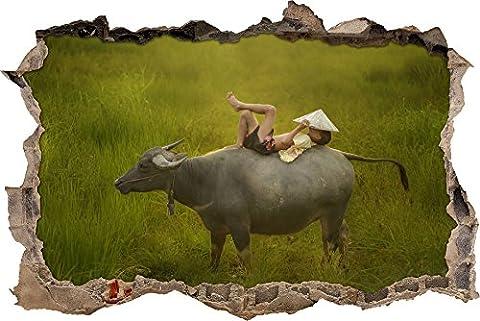 Pixxprint 3D_WD_S2691_62x42 gigantischer Wasserbüffel mit Kind Wanddurchbruch 3D Wandtattoo, Vinyl, bunt, 62 x 42 x 0,02 (Usa Zu Weihnachten)
