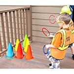 OurWarm 3 in 1 Ring Toss Game Set Soft Traffic Cone Bean Bags for Throwing, 26pcs Puzzle Carnival Garden Backyard… 11