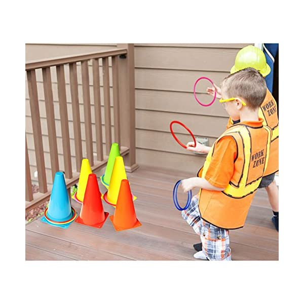 OurWarm 3 in 1 Ring Toss Game Set Soft Traffic Cone Bean Bags for Throwing, 26pcs Puzzle Carnival Garden Backyard… 4